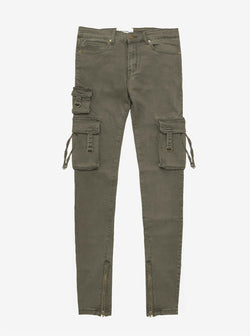 Faded olive wash d ring cargo pocket skinny fit denim jeans by profound aesthetic