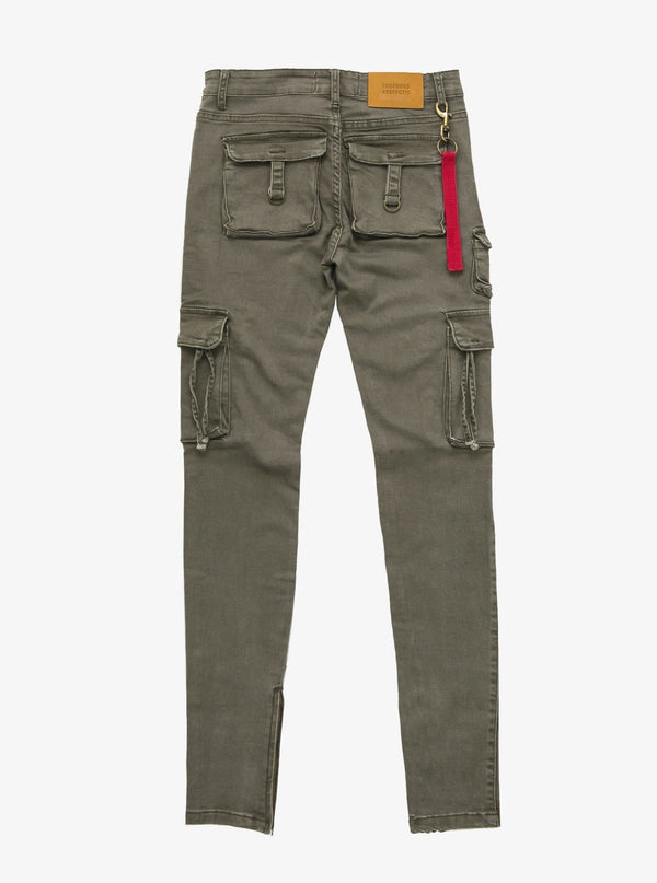 PRE-ORDER | D-Ring Cargo Jeans in Faded Olive