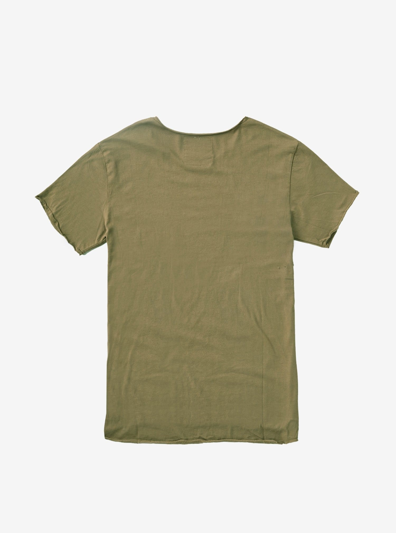 Basic Raw-Cut Short Sleeve Tee in Olive Army
