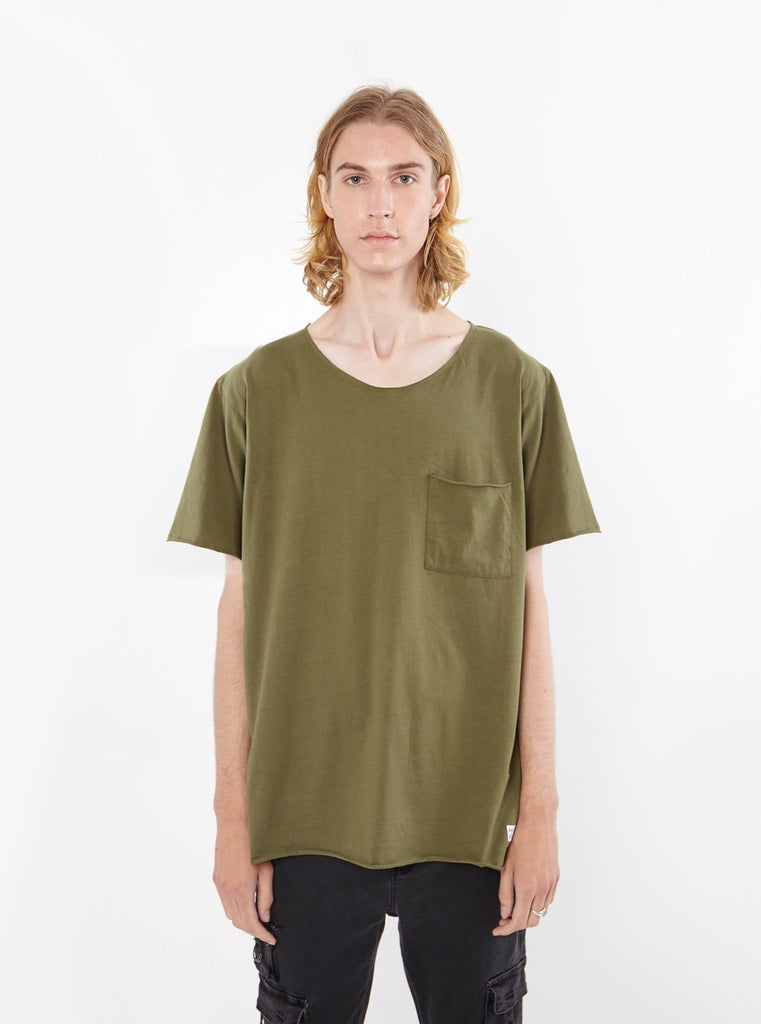 Basic Raw cut cotton olive army short sleeve elongated tee by profound aesthetic