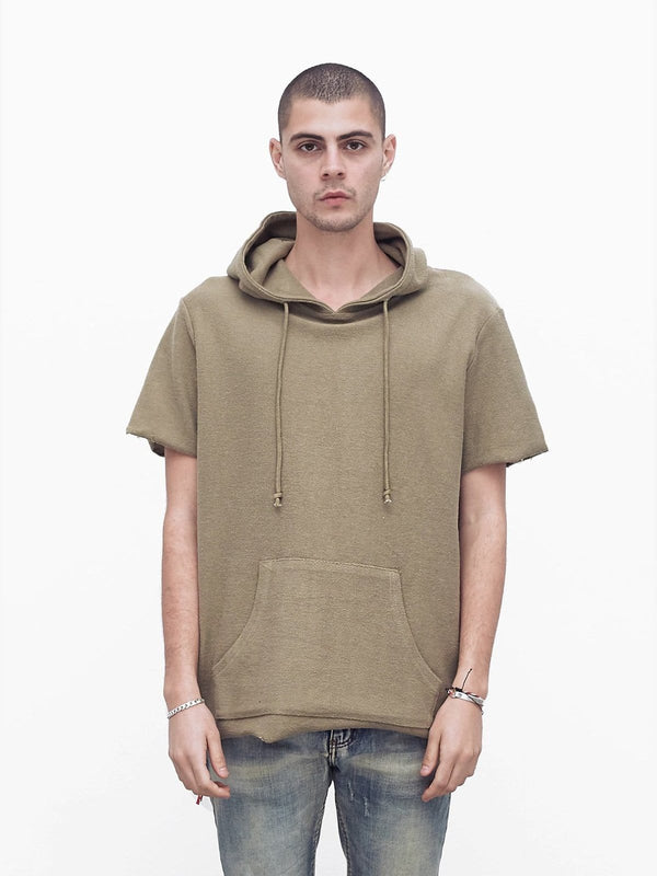 Reversed French Terry Pullover Raw-Cut Hoodie in Light Olive