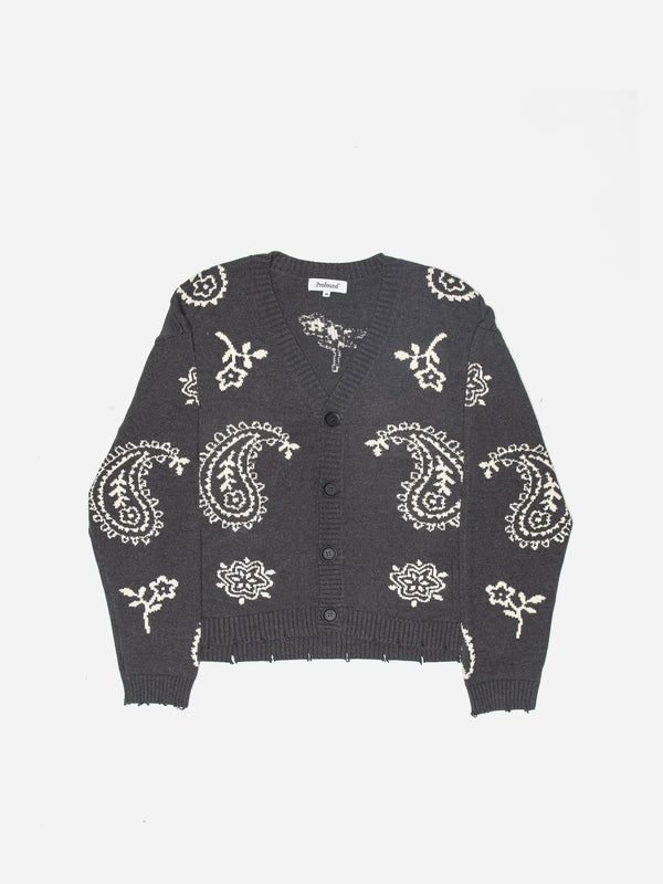 Knit Paisley Cardigan Sweater in Dark Gray (6096604463294)