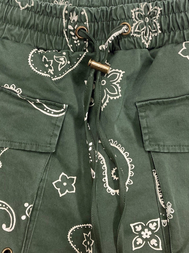 Paisley Shorts in Washed Olive