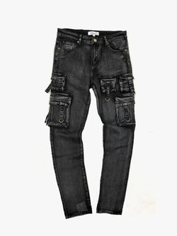 Utility Denim Jeans in Washed Black