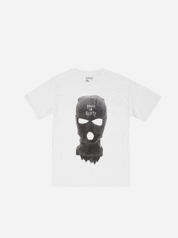 Peace or Riot Mask Graphic Tee in White (4574650368071)