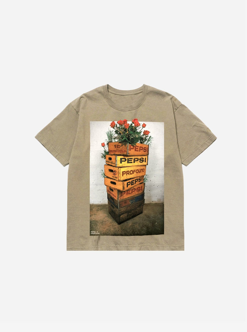 Pepsi x Profound Stacked Crates Tee in Brown