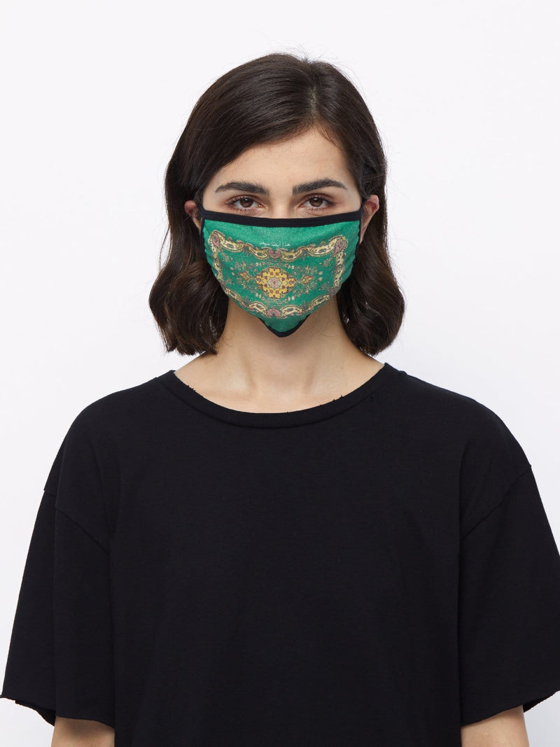 Persian Green Cotton Face Mask (4578724905031)