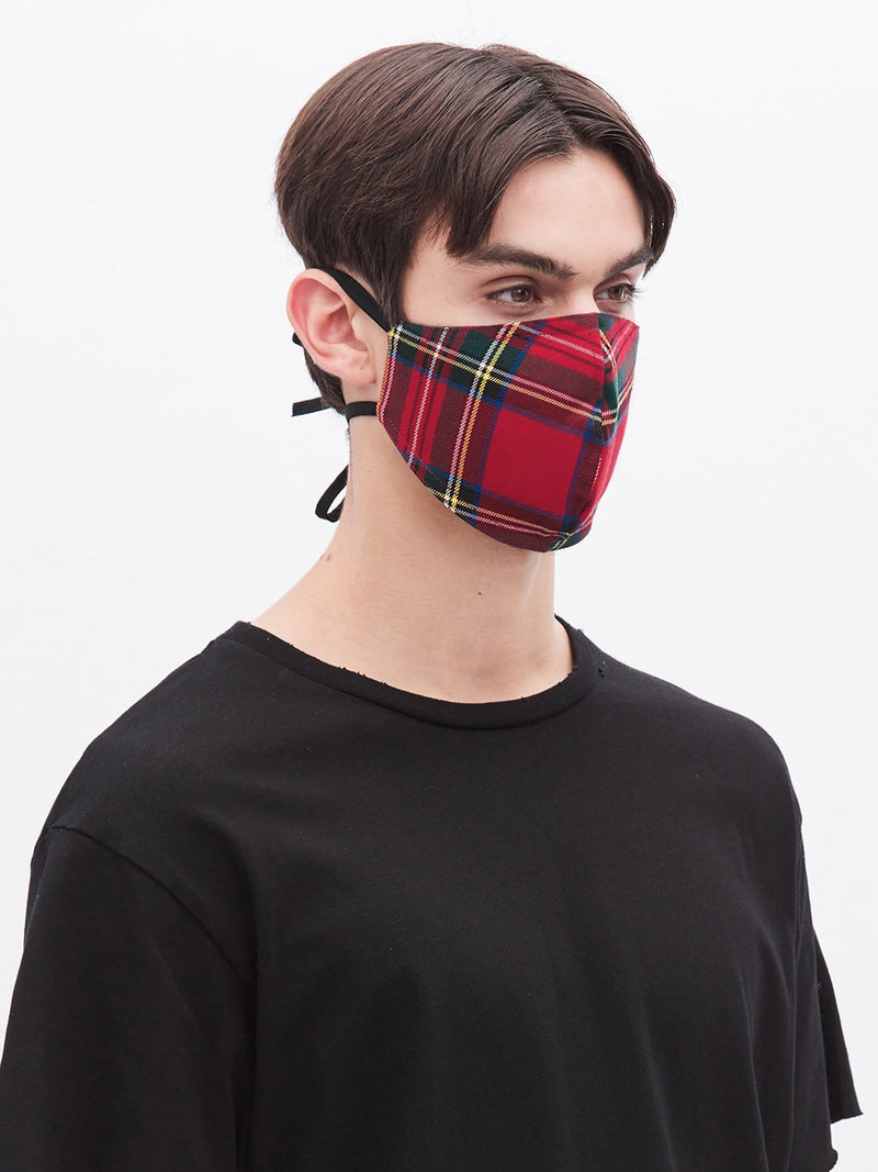 Red Plaid Strap Cotton Mask