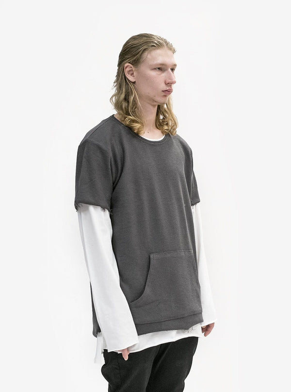 Reversed French Terry Pullover Raw-Cut Sweatshirt in Gunmetal - Profound Aesthetic - 2