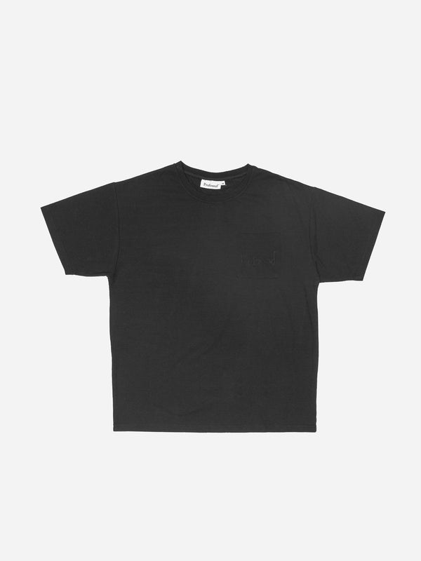 Embroidered Pocket Slab Tee in Textured Black (6094999486654)