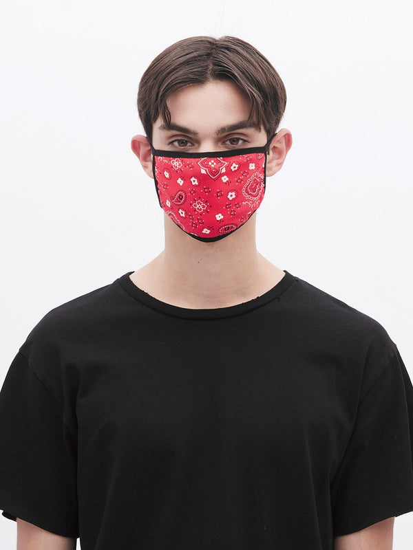 Triple-Layered Protective Bandana Red Paisley Face Mask