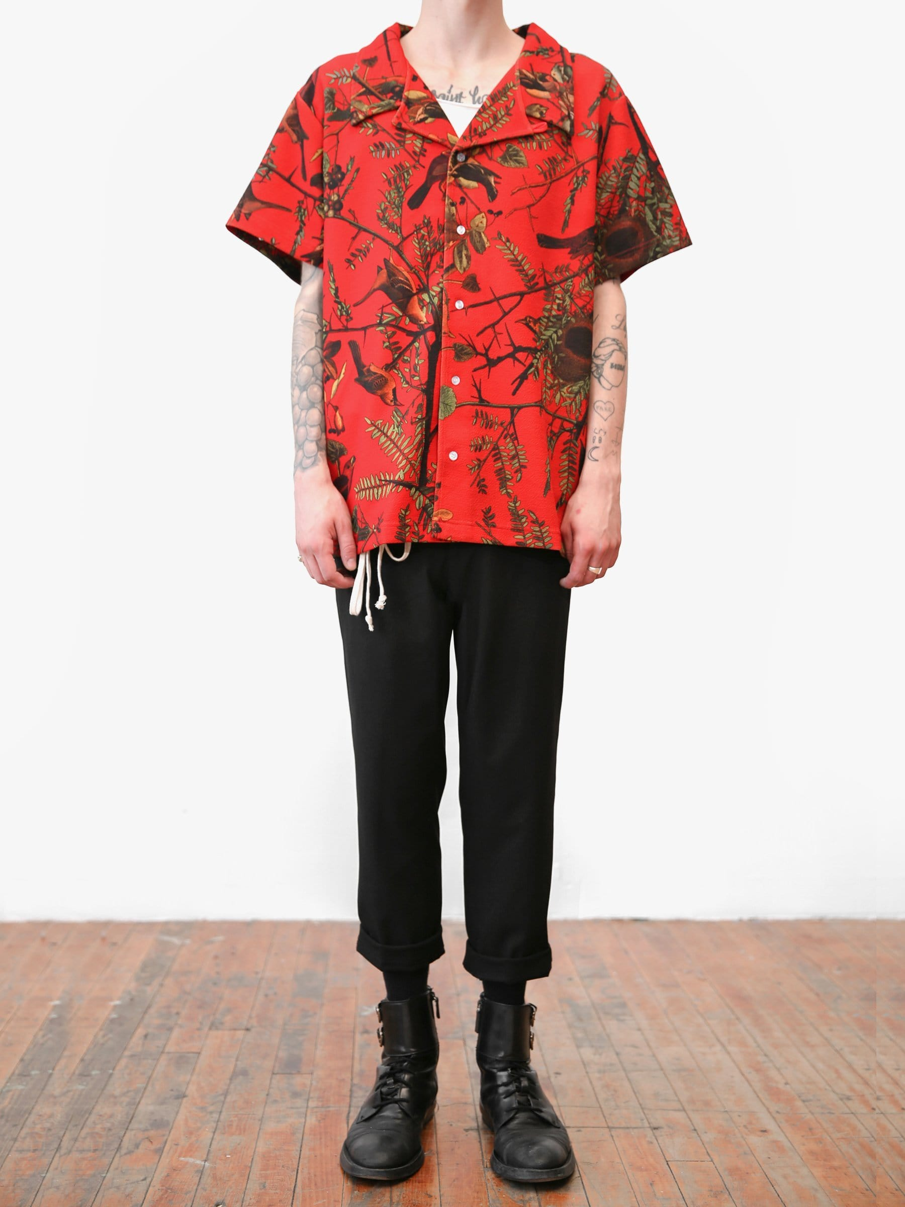 Exotic Flower Button Down Camp Shirt in Red