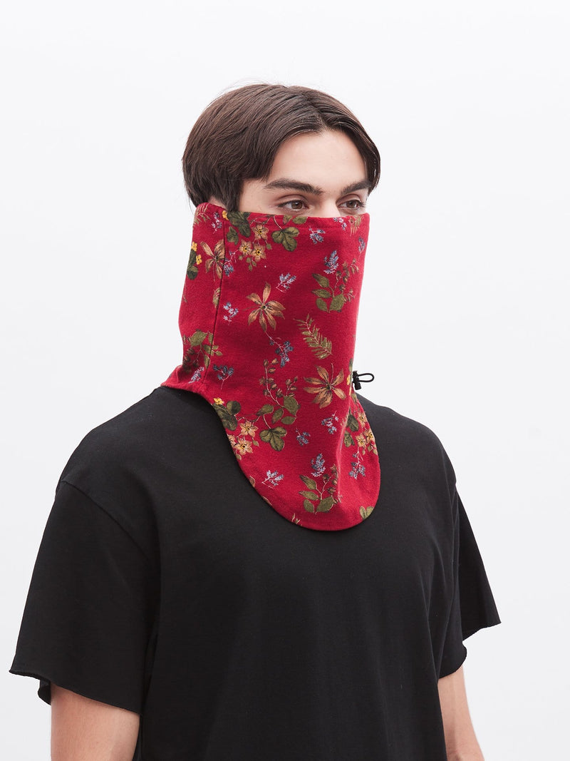 Half-Face Red Floral Face Mask