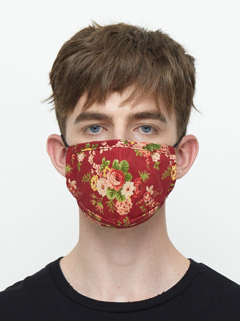 Triple-Layered Protective Red Floral Print Face Mask