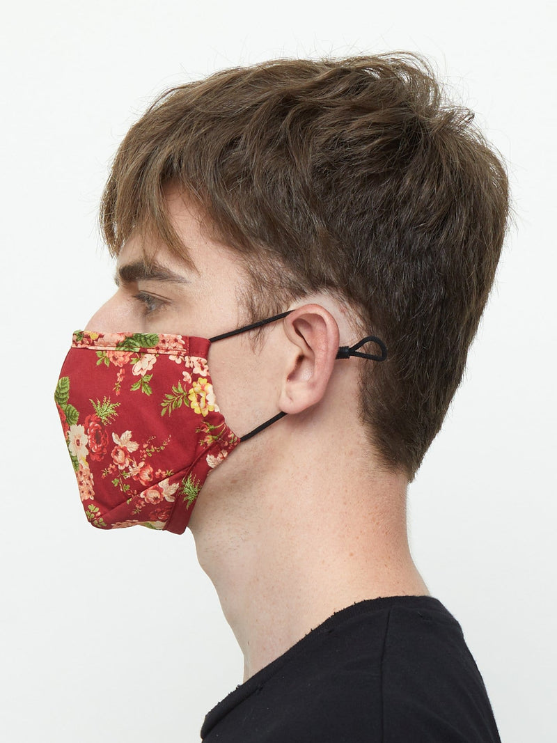 Triple-Layered Protective Red Floral Print Face Mask (4696072290375)