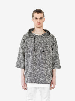Front view of Rush Marled Half Sleeve Hoodie in Mixed Gray