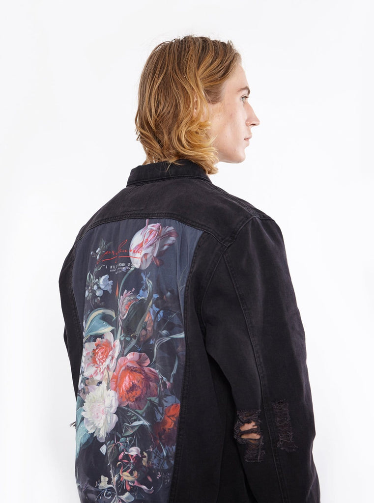 Vintage wash distressed black denim jacket with back cotton floral panel patch called still life by profound aesthetic