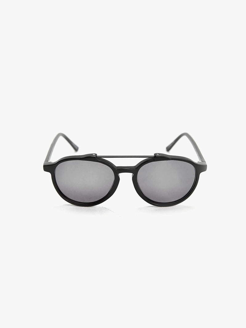 Matte Black Brow Bar Aviator Sunglasses