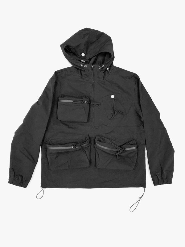 Nylon Tech Pullover Jacket in Black (4445503324231)