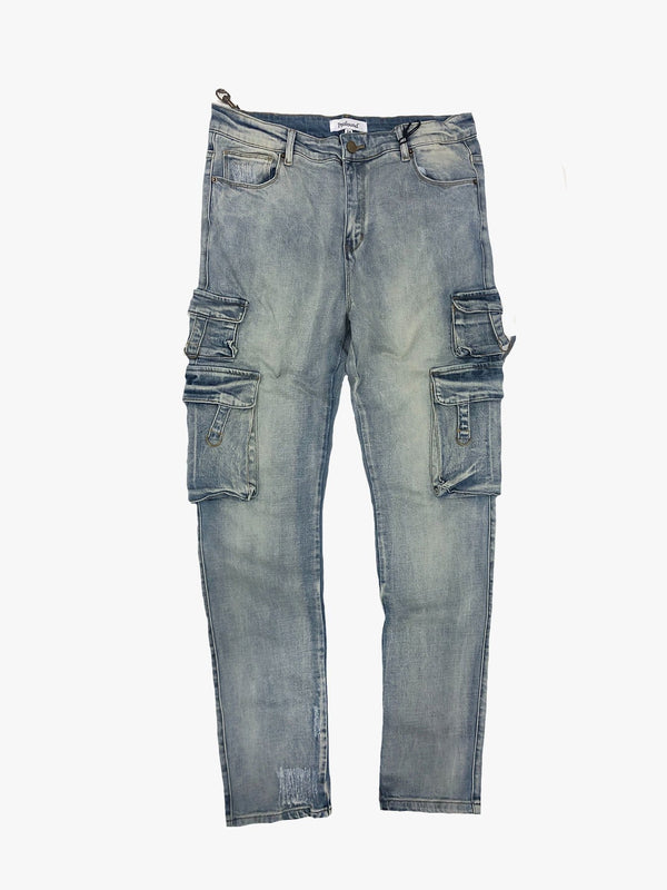 Utility Denim Jeans in Sandwash