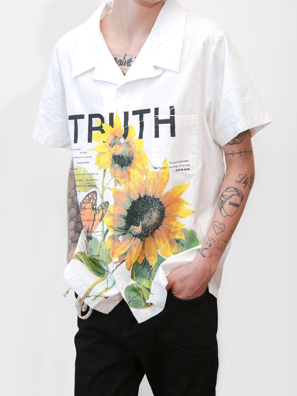 Truth is Beauty Half Sleeve Button Down Shirt