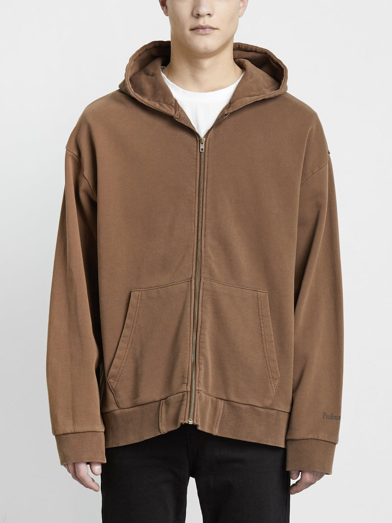Vintage Brown Zip Up Hoodie (6205942038718)