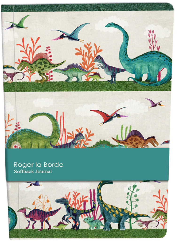 Roger la Borde Dino Mighty A5 Softback Journal featuring artwork by Katherine Quinn
