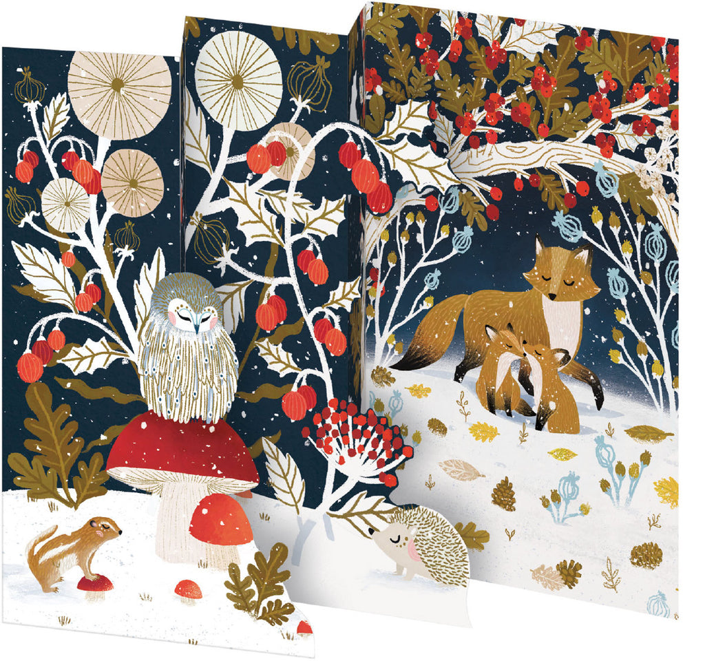 Roger la Borde Frosty Forest Notecard Pack (5 tri-fold cards) featuring artwork by Antoana Oreski