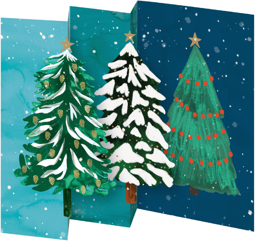 Roger la Borde Christmas Conifer Notecard Pack (5 tri-fold cards) featuring artwork by Katie Vernon