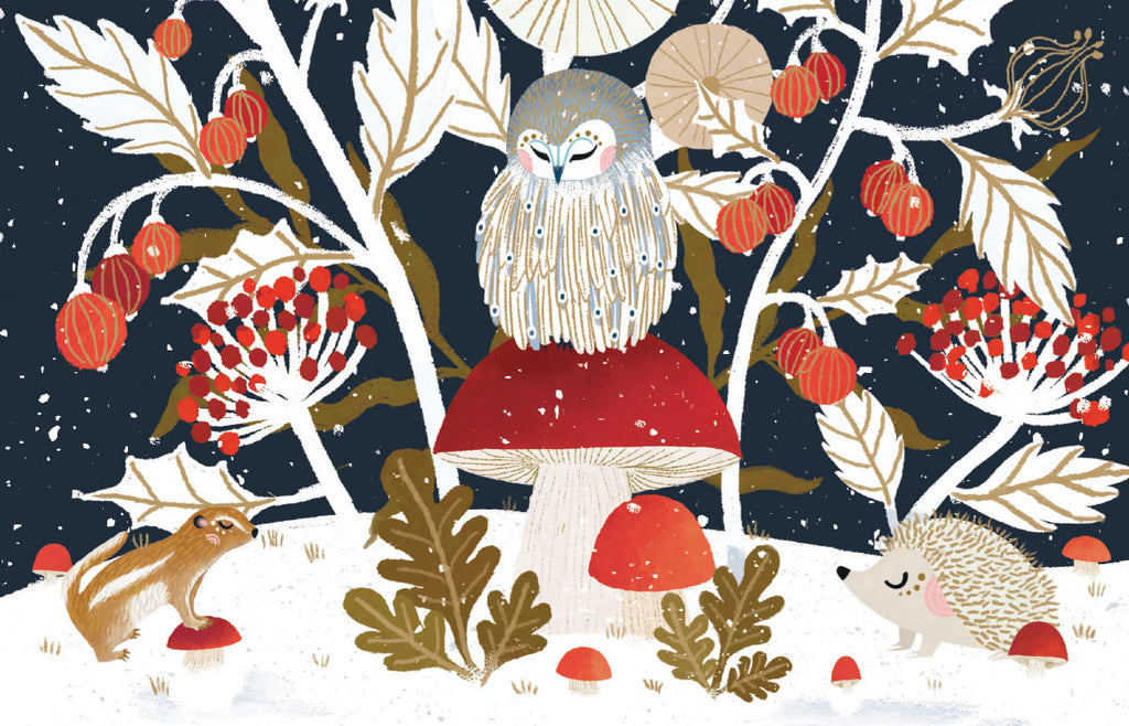 Roger la Borde Frosty Forest Notecard pack featuring artwork by Antoana Oreski