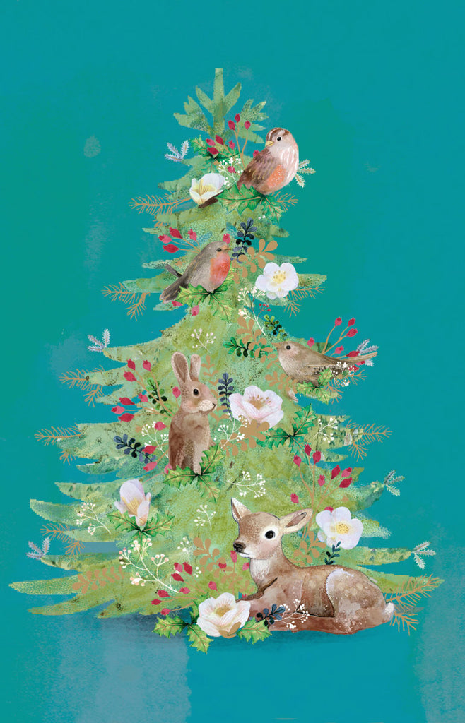 Roger la Borde Christmas Tree Notecard pack featuring artwork by Kendra Binney