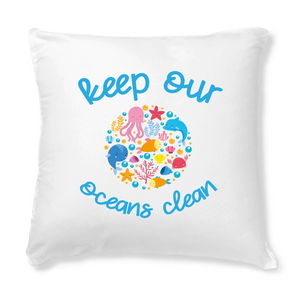 "Coussin ""Keep our oceans clean"""