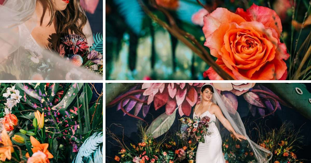 Collage of flowers for dark wedding around a central image of bride in white dress, medium viel, holding a bouquet of tropical and exotic flowers.