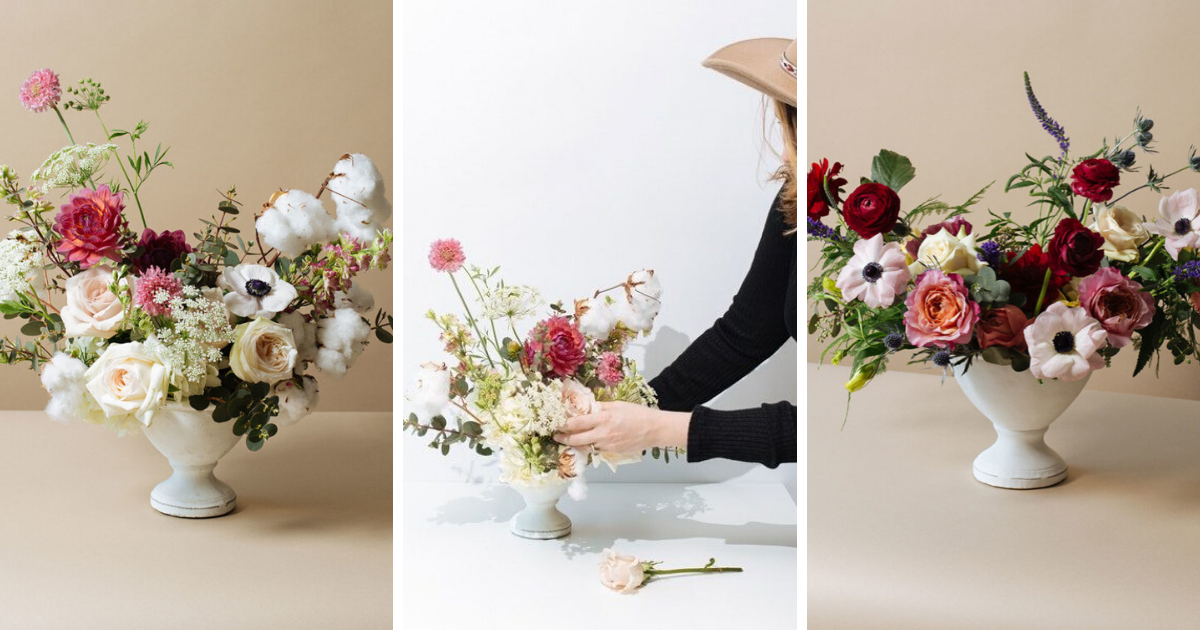 3 images of big boy flower arrangement with different examples of asymmetrical flowers.