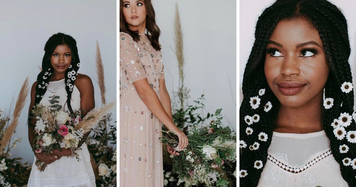 3 photos, first of smiling bride with sleeveless wedding dress, white flowers in her braided hair, and a neutral bouquet, third is closeup of small flowers in braids. Middle photo of woman in pastel pink dress with short sleeves and large sequins holding a bunch of flowers.