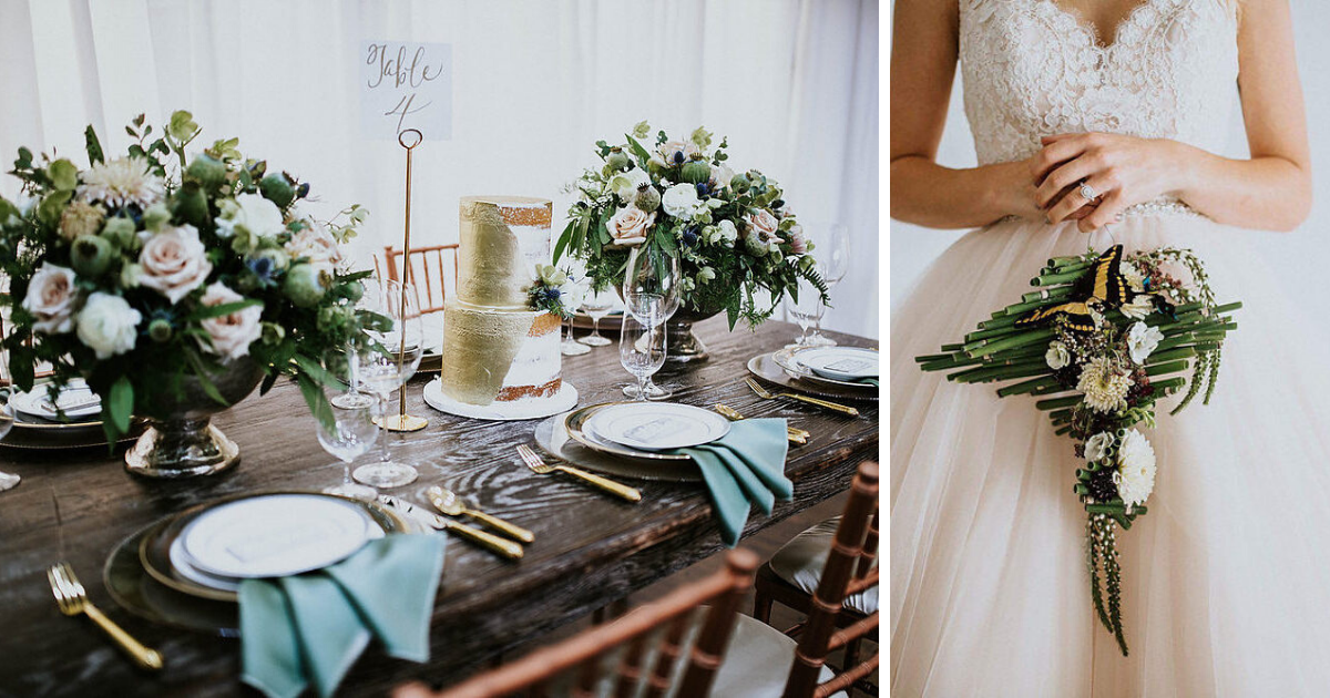 First image of table setting at wedding with neutral  bouquets, gold cake, and gold utensils.