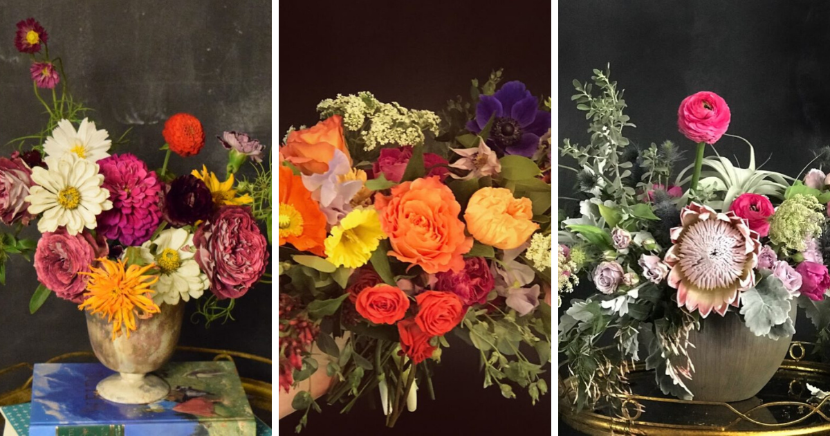 Three different unique flower arrangements with asymmetrical shape and bright colors.
