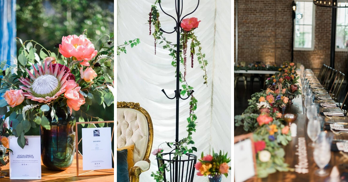 Exotic wedding flowers, decorations, and table arrangements.