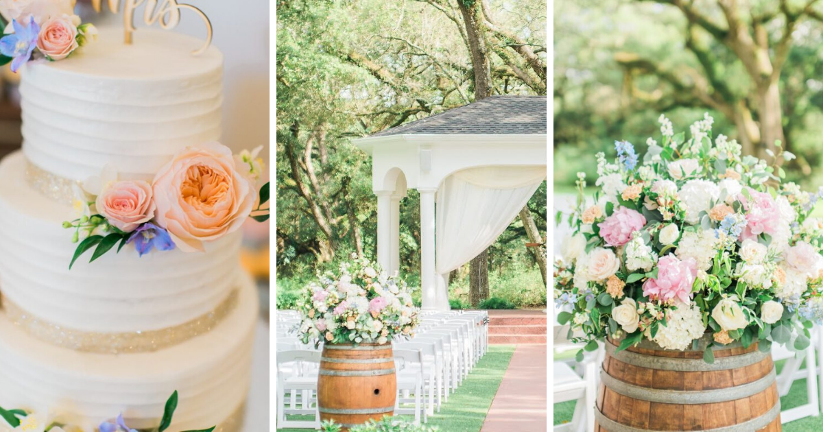 Collage with a cake with contrasting flowers and wooden barrel overflowing with flowers along the isle at an outdoor wedding with white chairs.