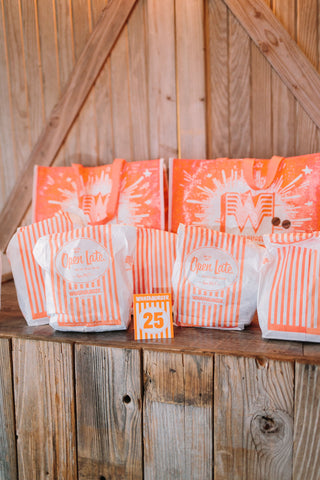 Houston wedding with Whataburger and table number.