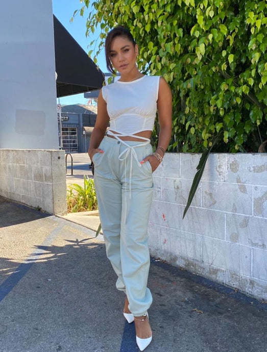 Vanessa Hudgens' White Wrap Crop Top - August 11, 2020
