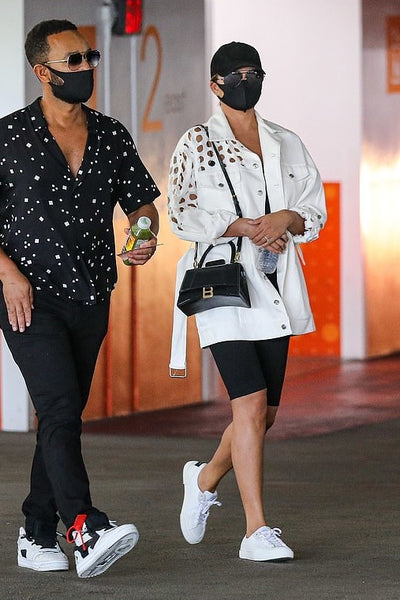 Chrissy Teigen's White Belted Denim Jacket - August 14, 2020