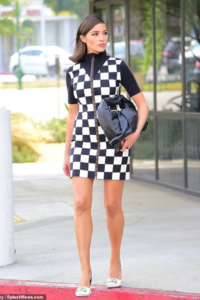 Olivia Culpo's Black Checkered Mini Dress - September 14, 2020