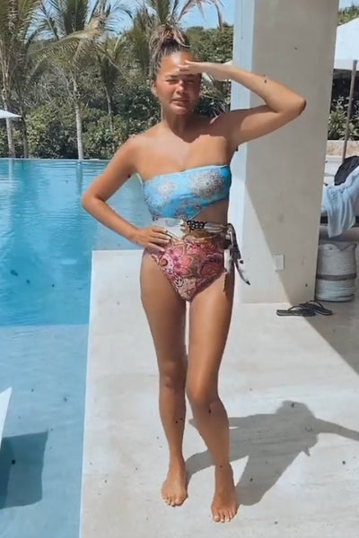 Chrissy Teigen's Strapless Printed One Piece Swimsuit - July 19, 2020