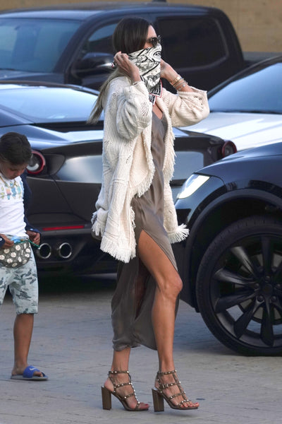 Alessandra Ambrosio's White Fringed Cardigan - July 5, 2020