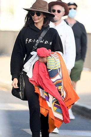 Nina Dobrev's 'Friends' Black Graphic Hoodie - June 19, 2020