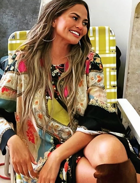 Chrissy Teigen's Ornate Floral Print Silk Maxi Dress - August 4, 2020