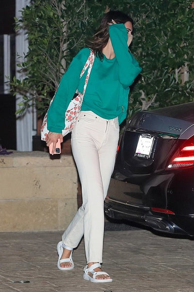 Kendall Jenner's Off White Straight Jeans At Soho House - September 7, 2020