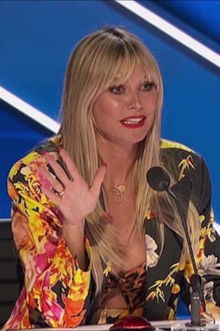 Heidi Klum's Black Floral Blazer On America's Got Talent - August 11, 2020