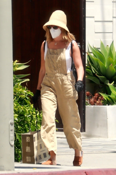 Ashley Tisdale's Neutral Toned Overalls - July 31, 2020